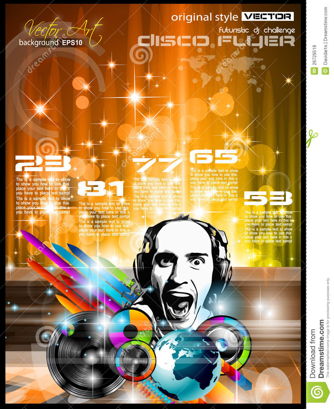 music club background for disco flyer stock illustration