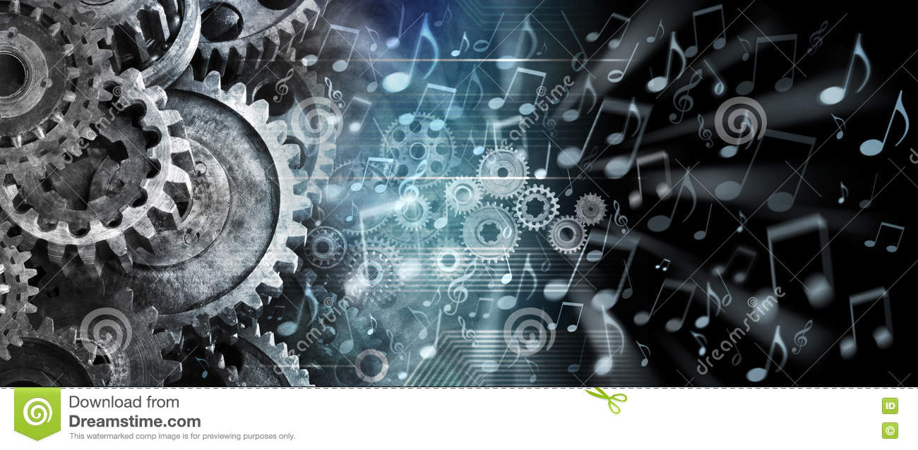 Music Streaming Cogs Technology Background