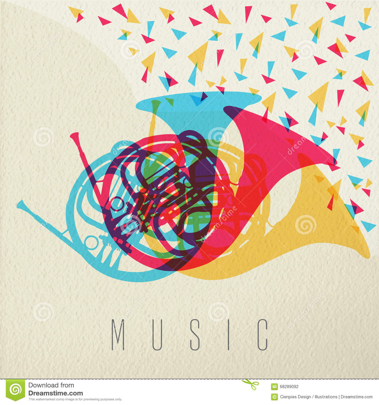 Music Concept Horn Orchestra Band Color Design
