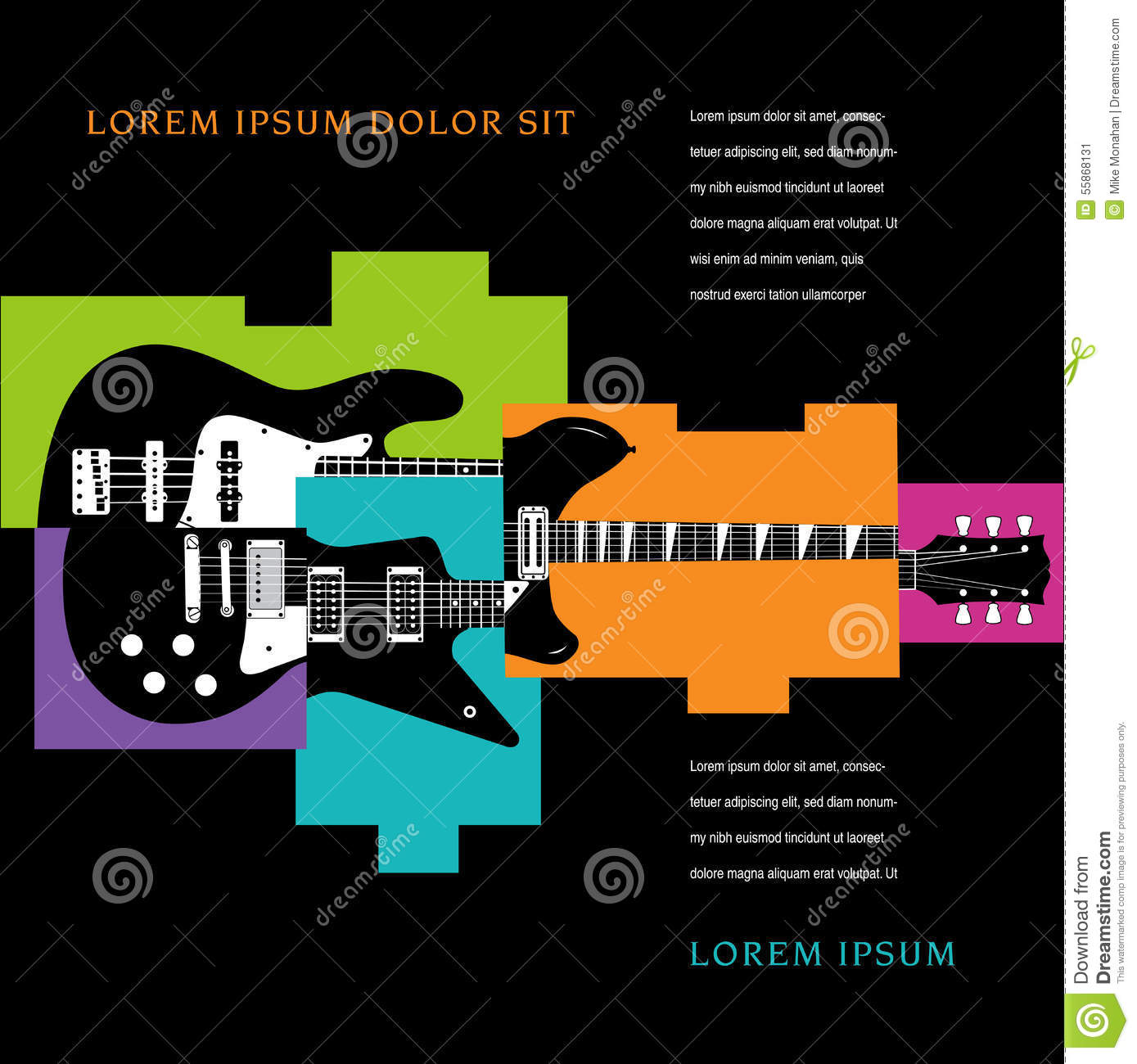 Music Concert Poster Layout Template Stock Vector - Image: 55868131