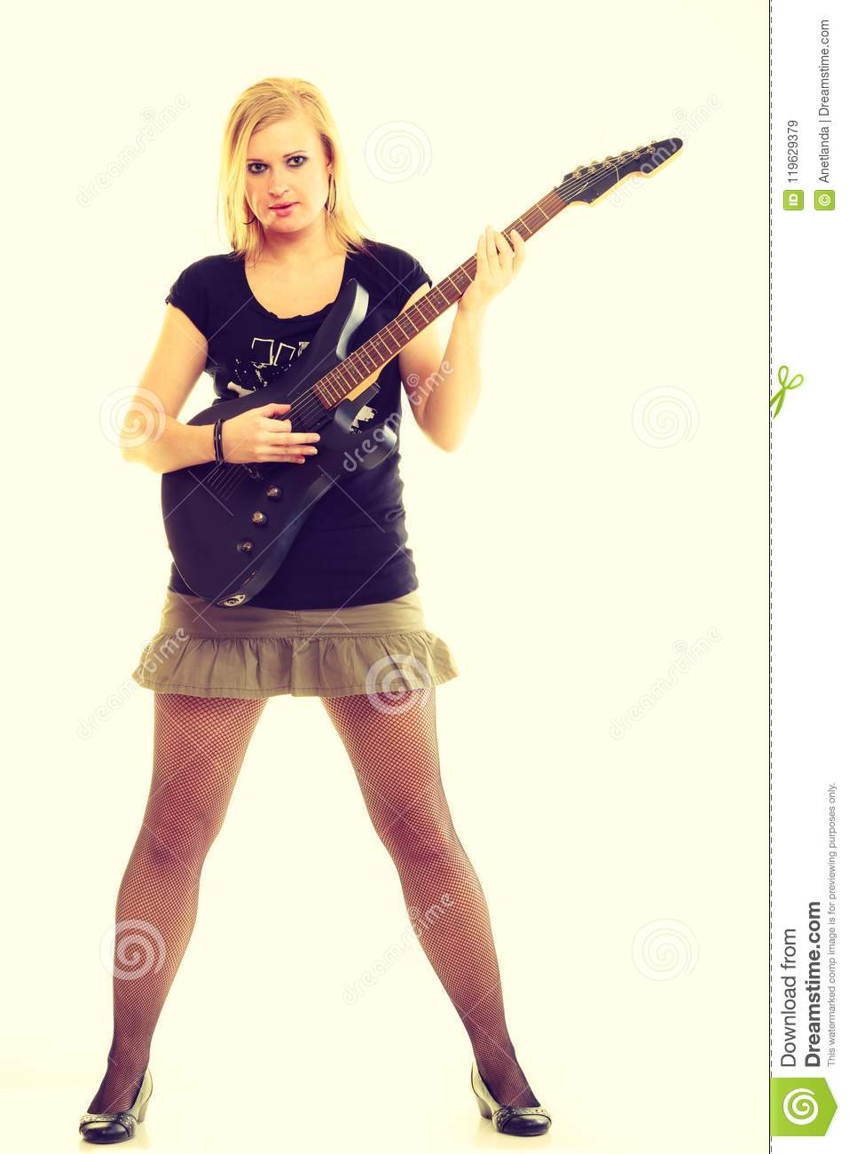 Woman Artist Player With Electric Guitar Stock Image Image Of