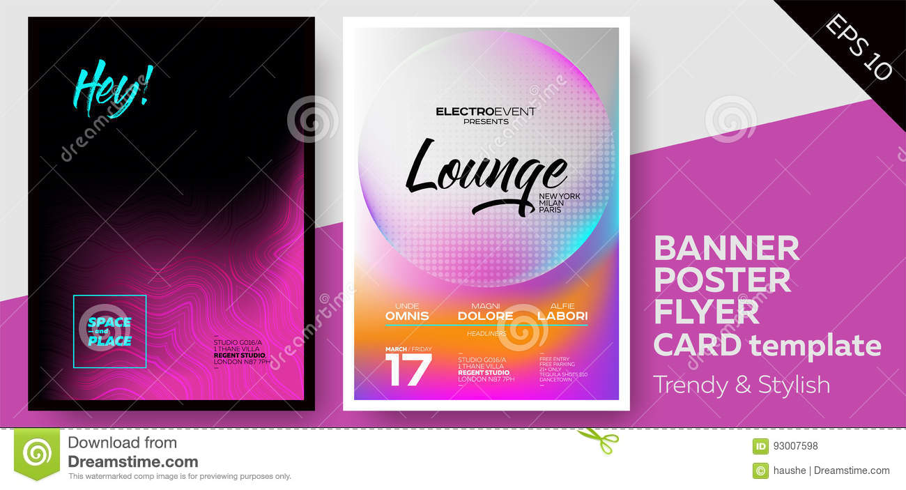 Music Covers For Summer Electronic Fest Or Club Party Flyer