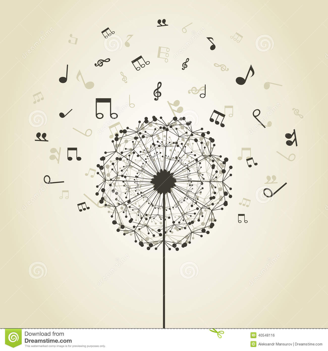 Musical notes around a flower a dandelion.