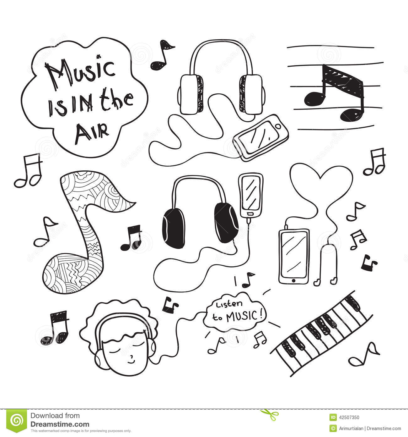 Music Doodle Drawing stock vector. Illustration of enjoy ... - photo#10