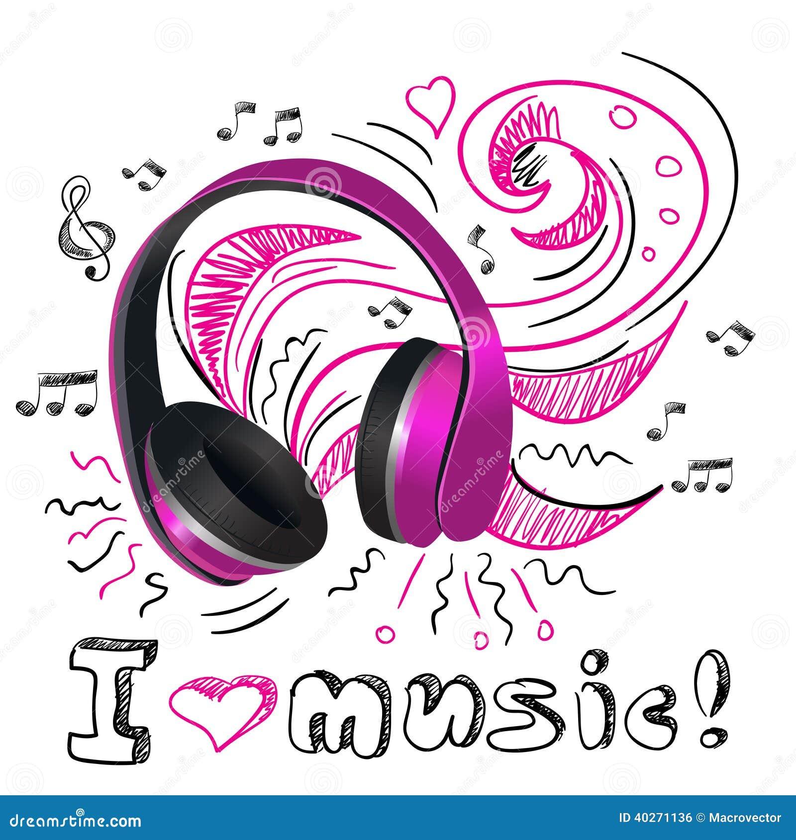 music doodle headphones stock vector