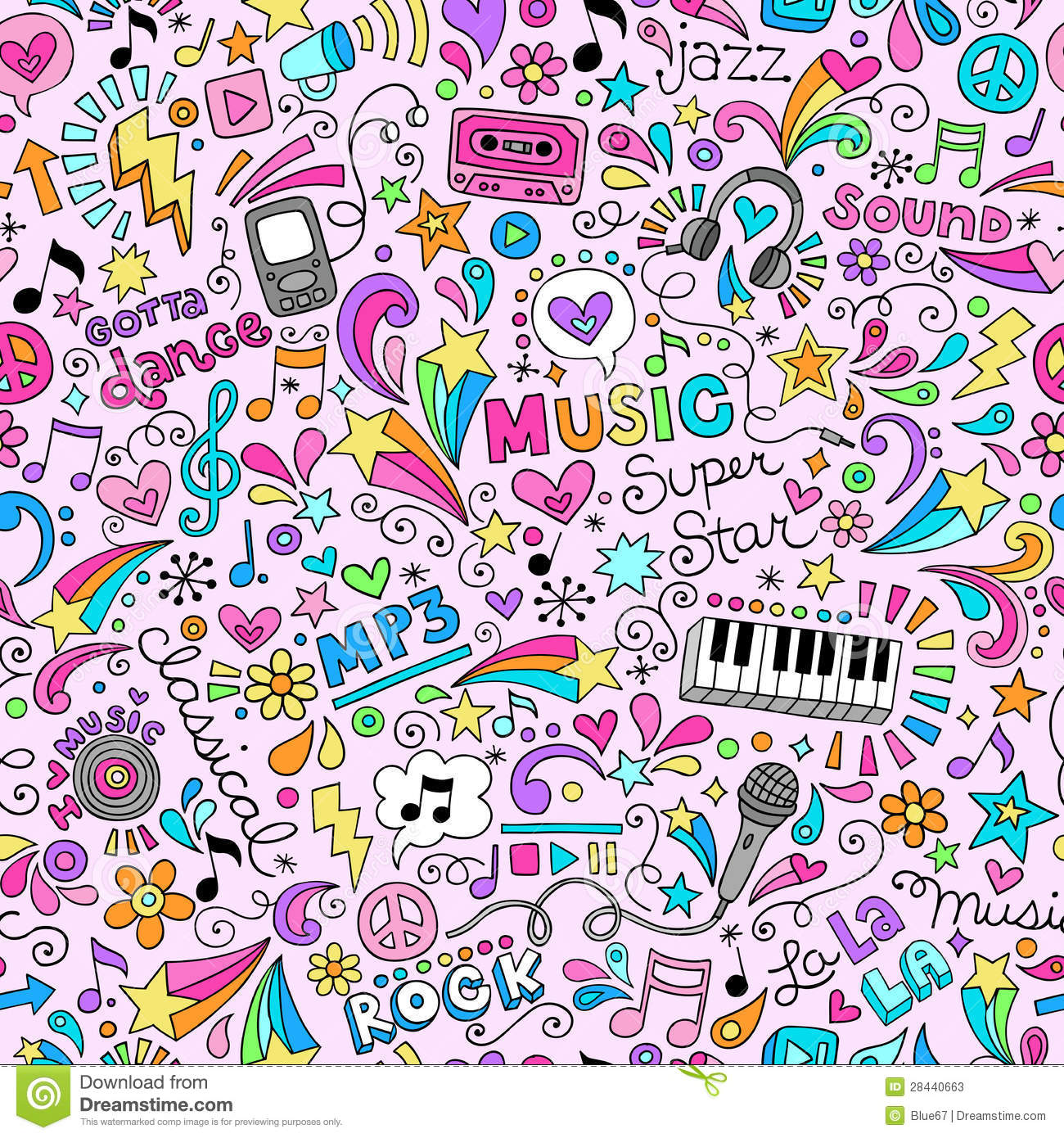 Music Doodles Groovy Seamless Pattern Background Stock ... Classical Music Background Designs