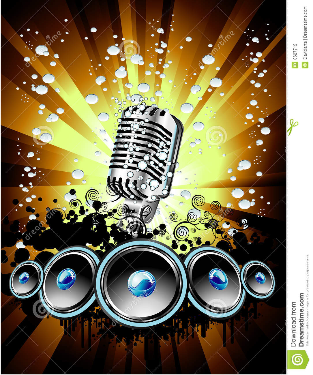 Music Event Background Stock Vector Illustration Of Microphone