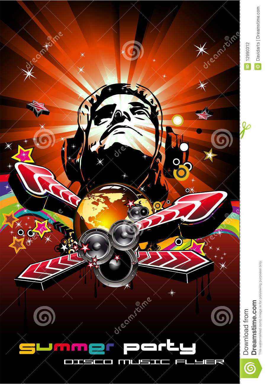 music event background with disk jockey shape stock vector