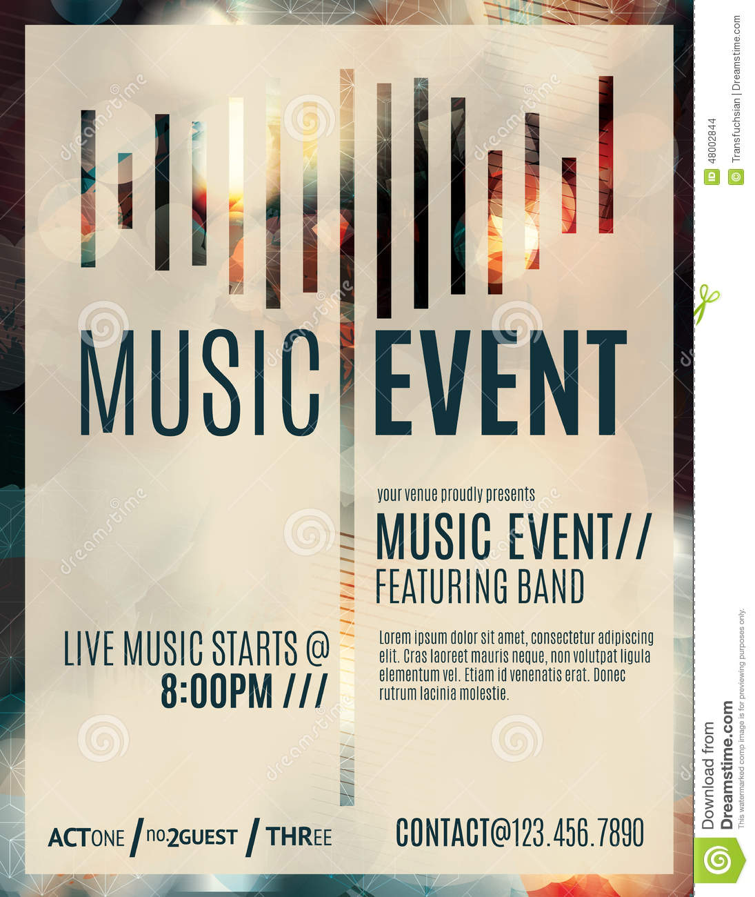 Music Event Flyer Template Vector Image 48002844 – Event Brochure Template