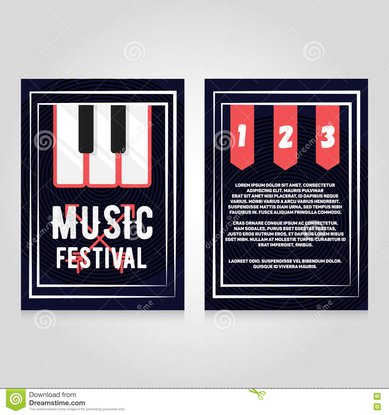 Music festival brochure flier design template. Vector concert poster illustration. Leaflet cover layout in A4 size