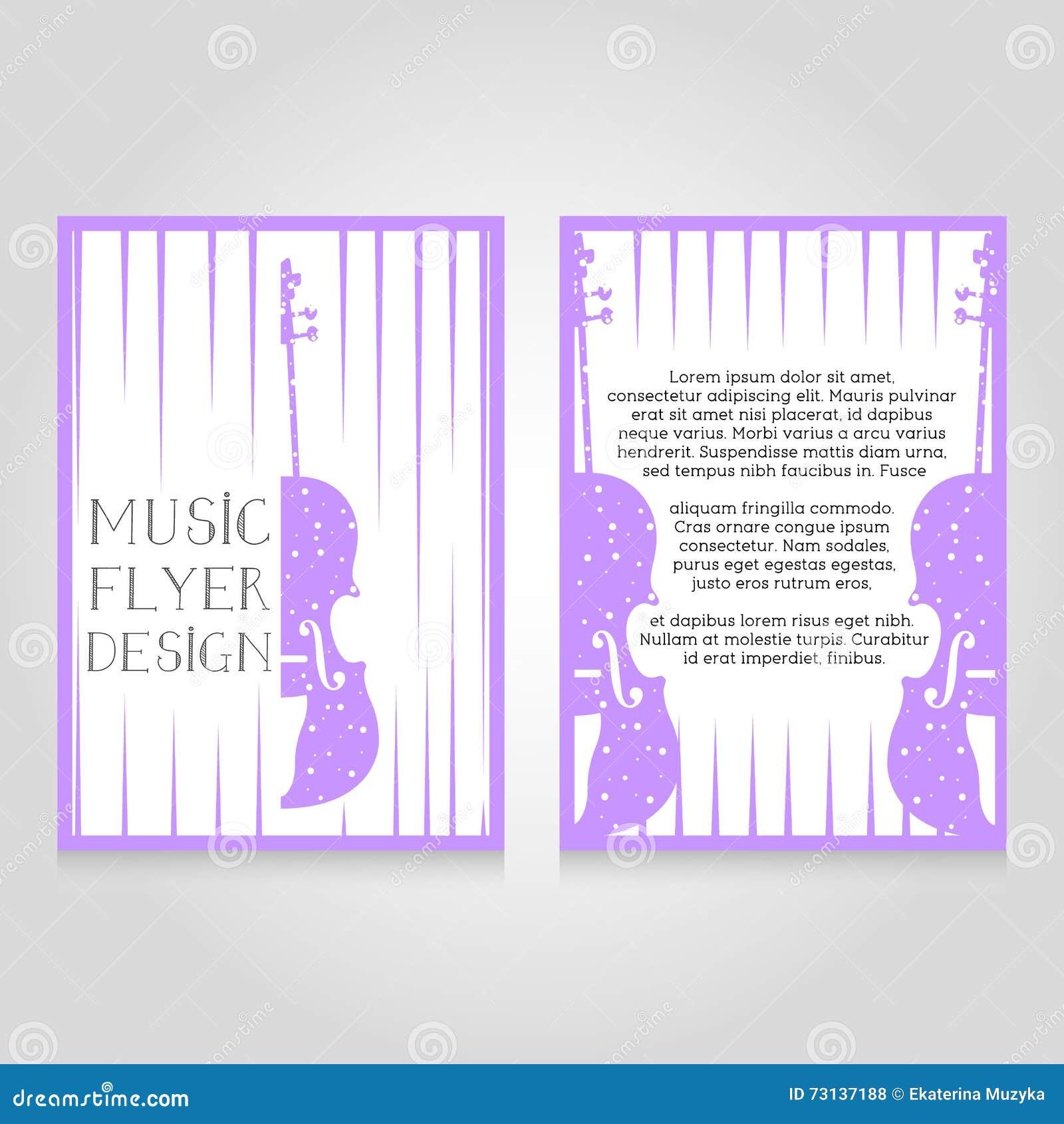 Music festival brochure flier design template. Vector concert poster illustration. Leaflet cover layout in A4 size