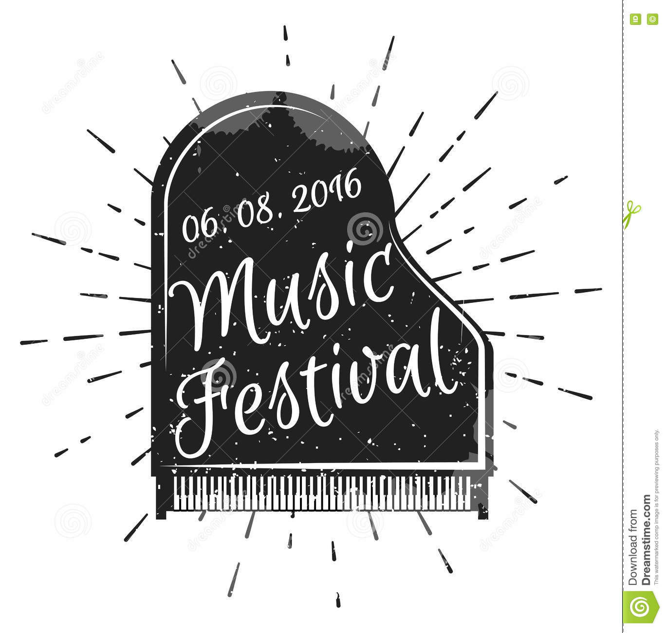 Music festival. Musical instrument piano. Vector illustration. Jazz music festival, poster background template.