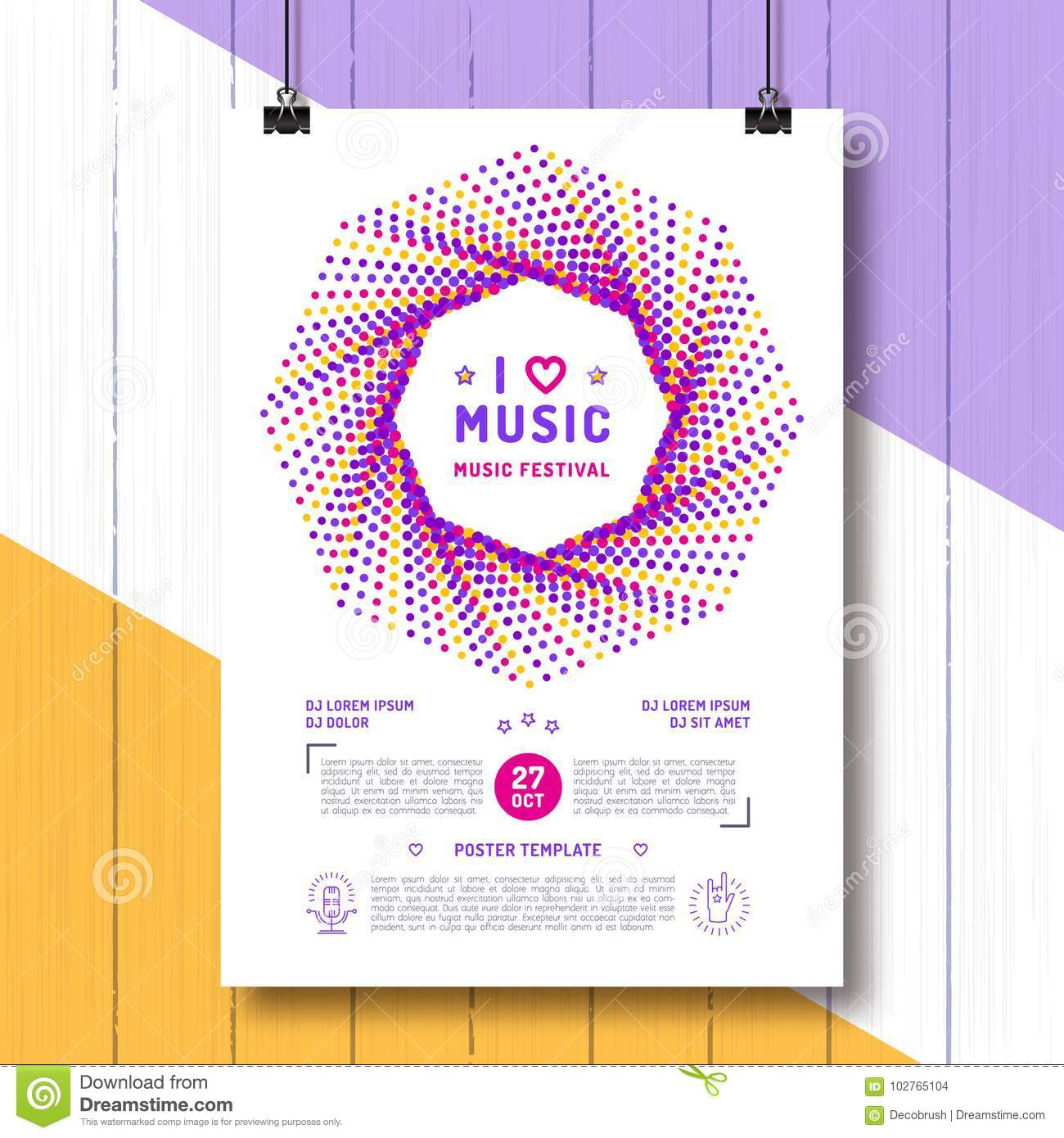 Music Festival Party Poster Template A4 Size Arts Flyer Event Invitation Classic