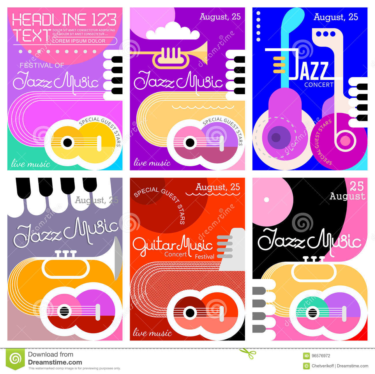 Kitchen Layout Templates 6 Different Designs: Music Festival Poster Designs Stock Vector