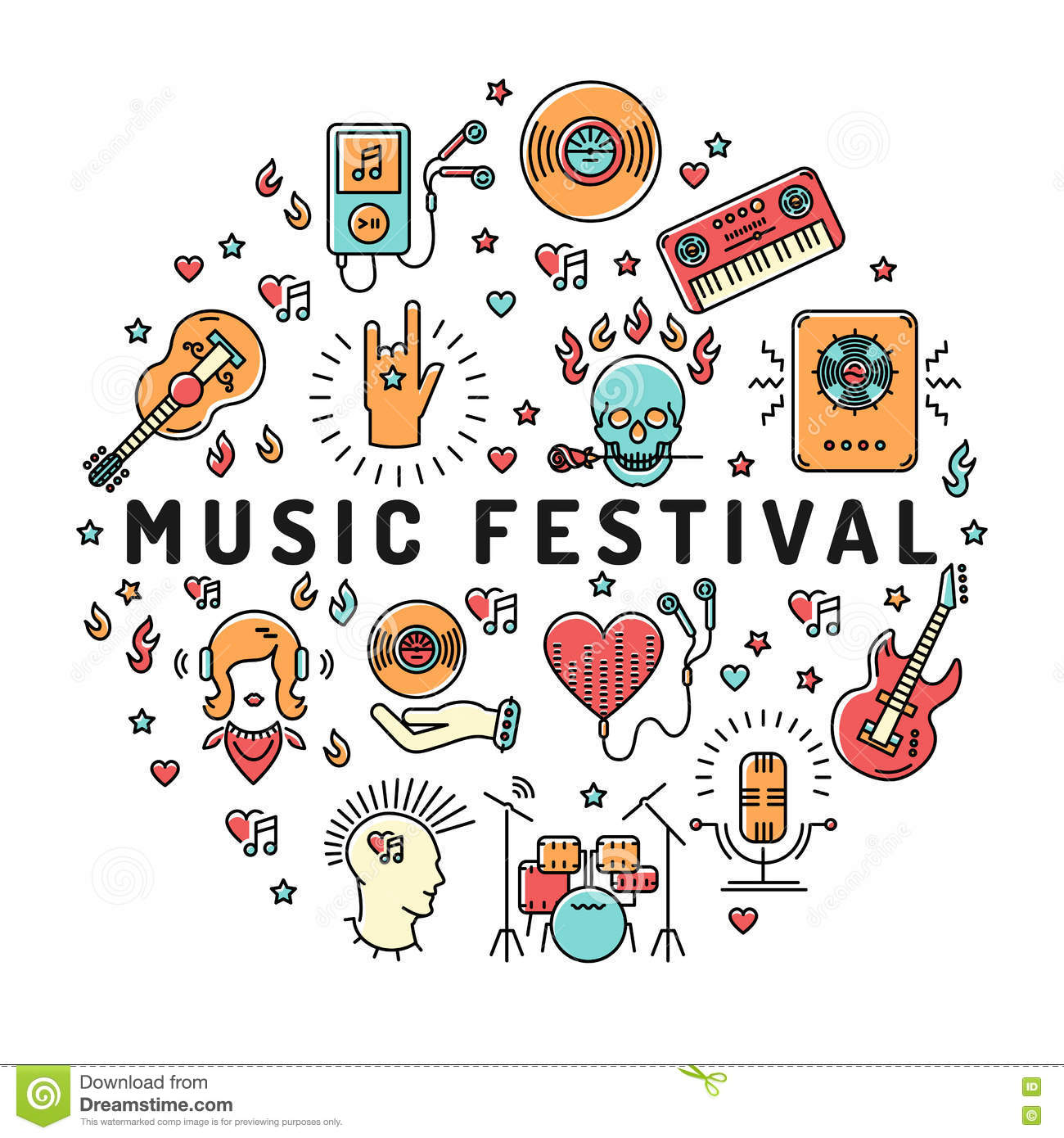 Line Art Icons : Music festival poster template musical collage line art