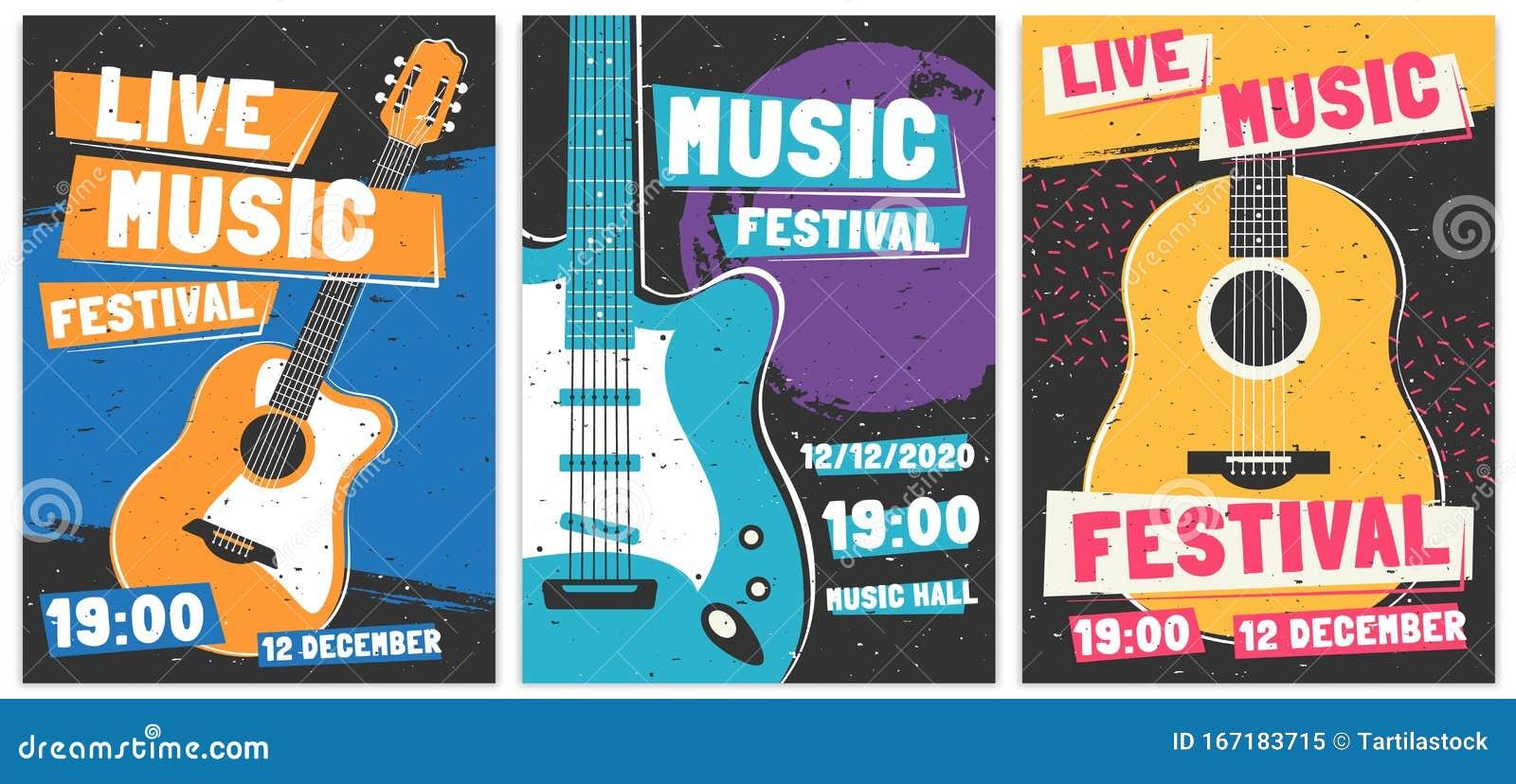 Music Festival Posters. Live Acoustic Guitar Music Concert ...