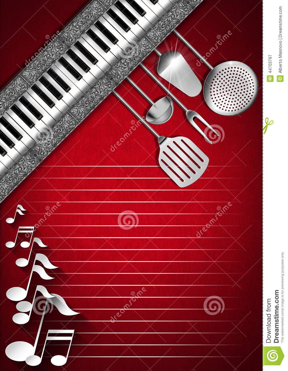 music and food - menu design stock illustration