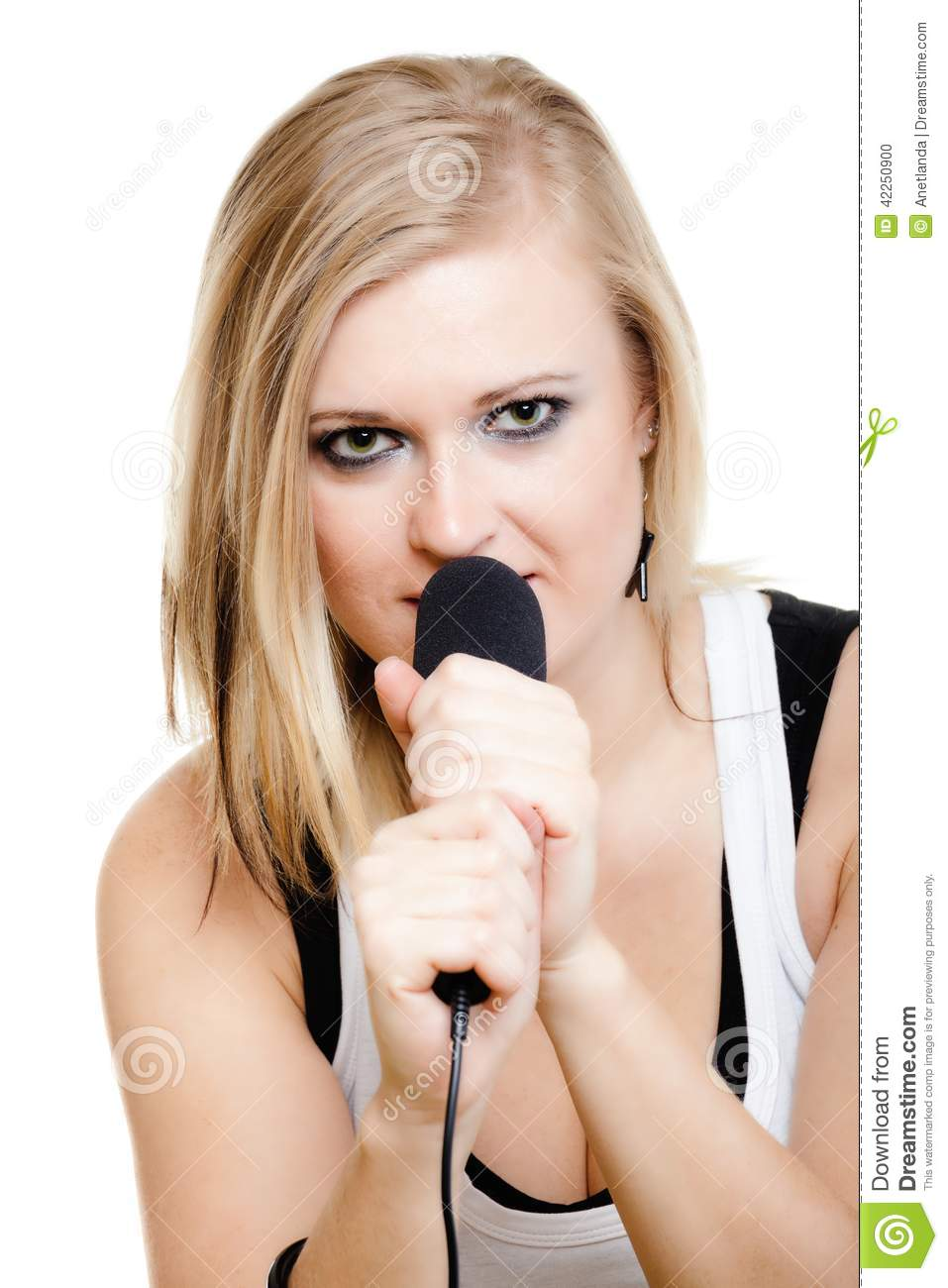 Music blonde girl pop singer musician performer singing a song to a