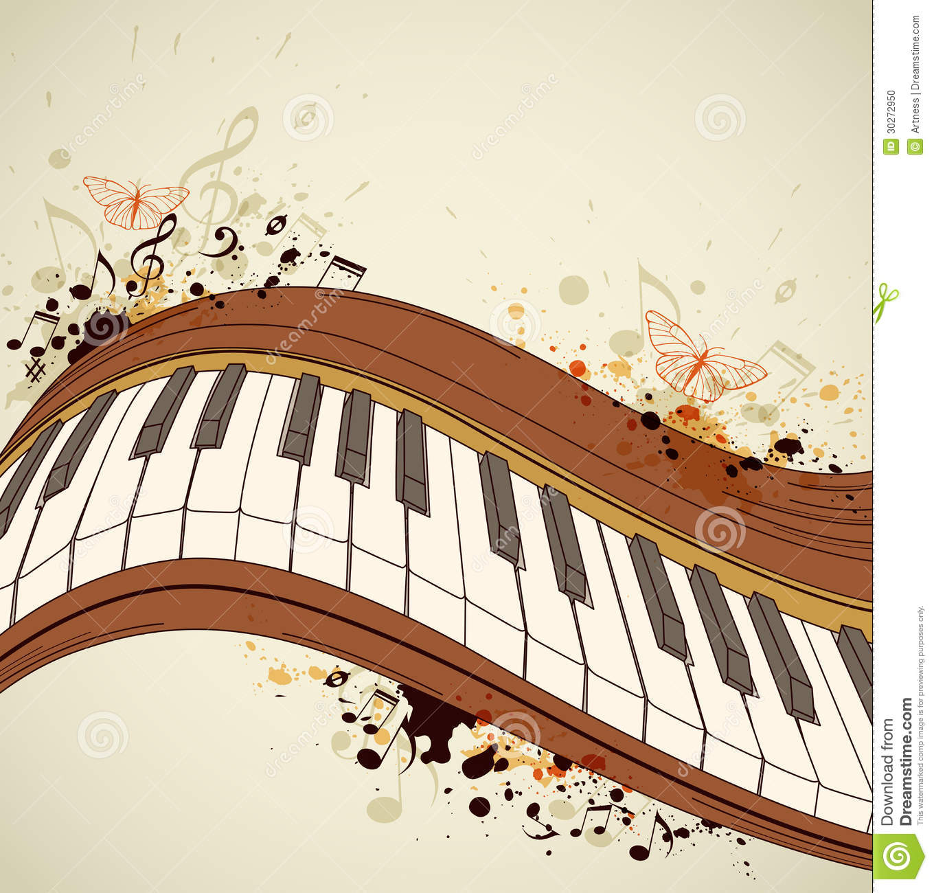 Piano Background Music: Piano And Notes Stock Photo