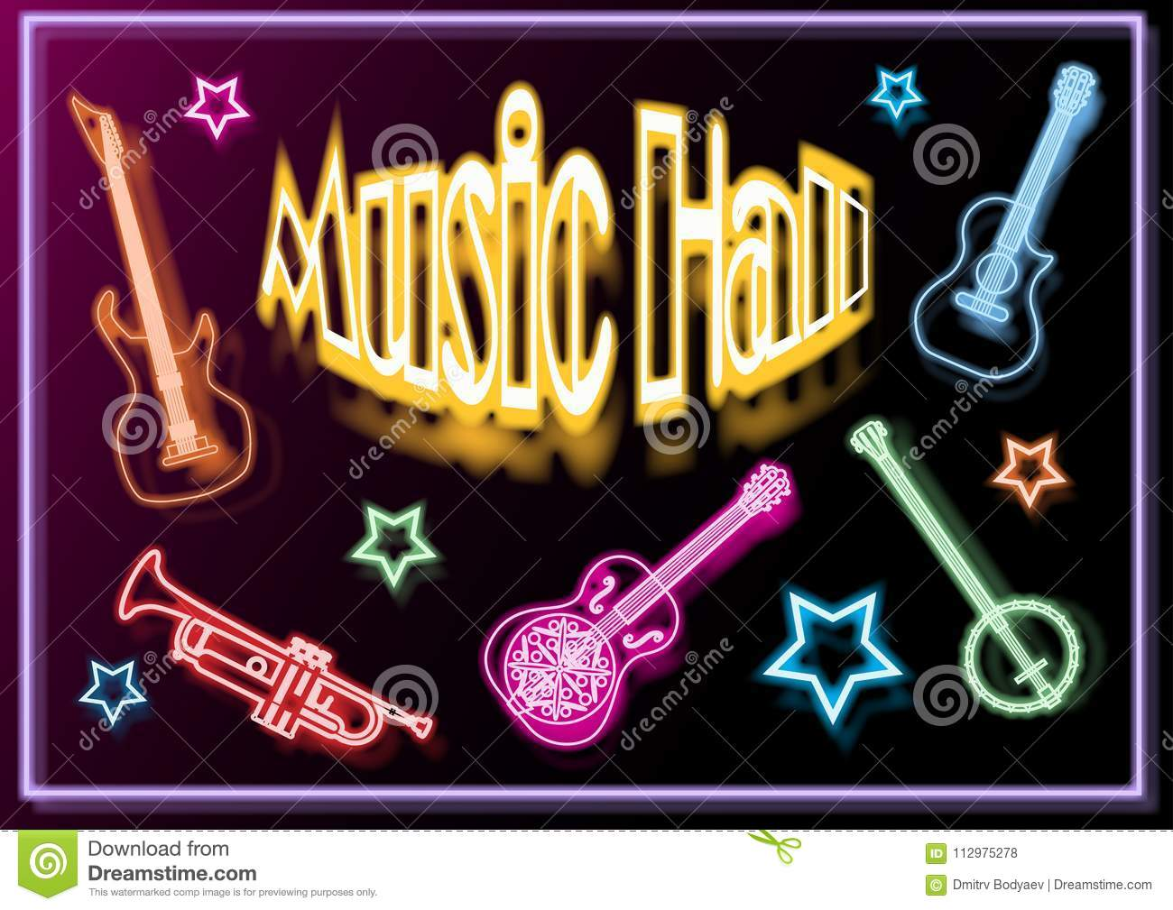 Music-hall, poster, with musical instruments
