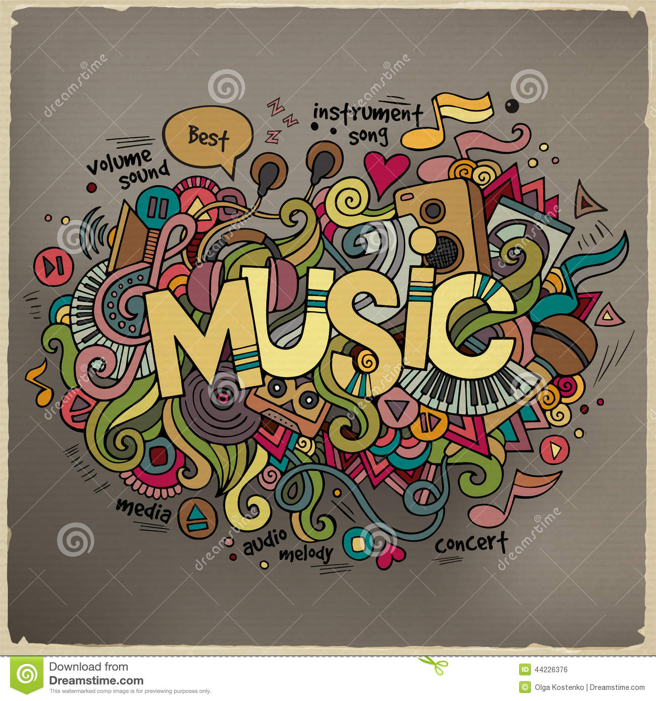 Stock vector music hand lettering and doodles elements - Music Hand Lettering And Doodles Elements Stock Vector
