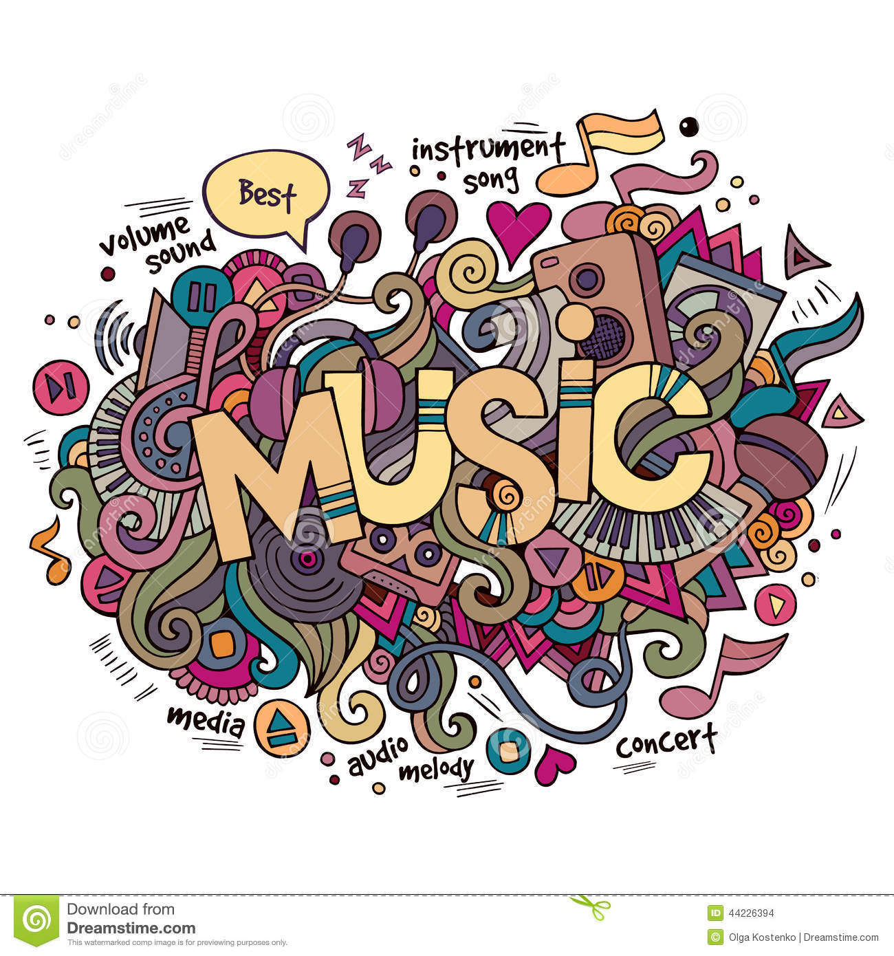 Music Hand Lettering And Doodles Elements Stock Vector