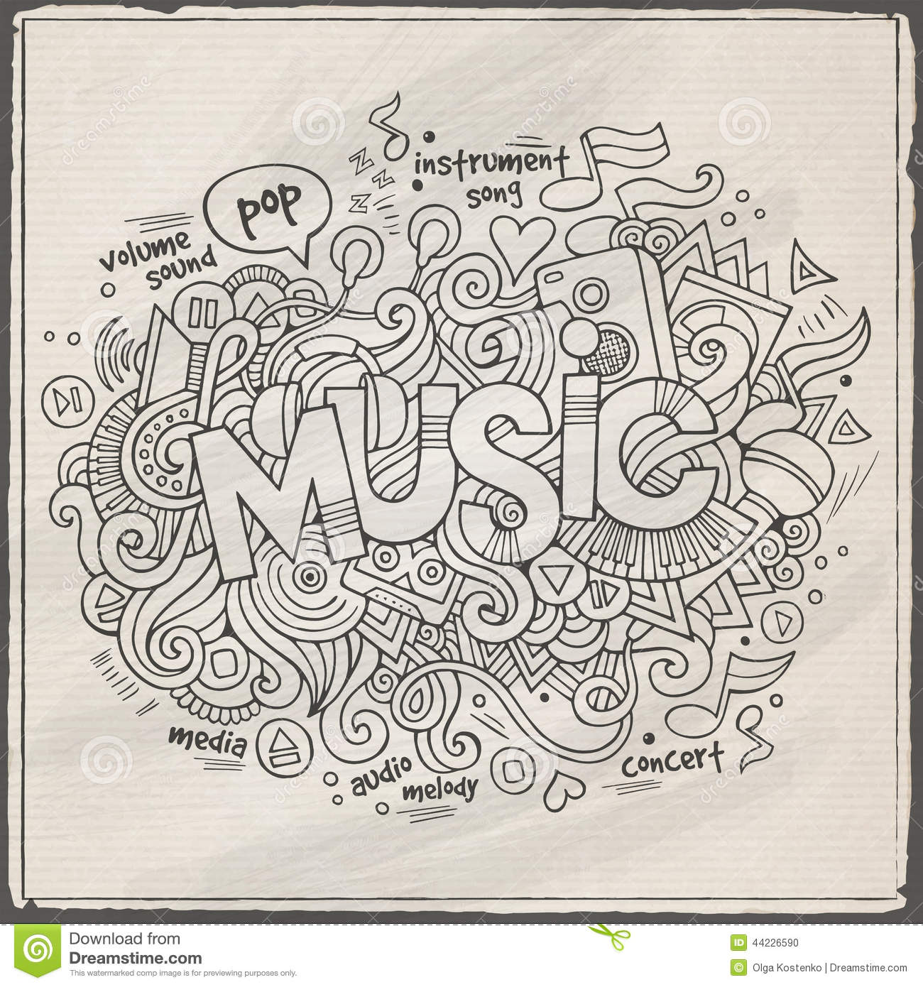Stock vector music hand lettering and doodles elements - Royalty Free Vector Background Doodles Elements Lettering Music