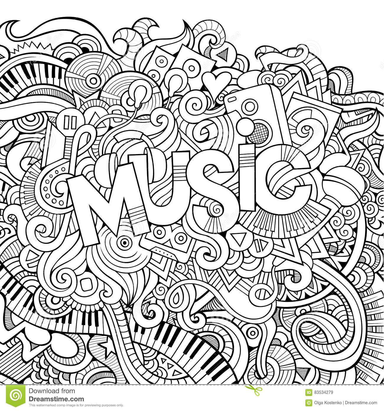 Stock vector music hand lettering and doodles elements - Royalty Free Vector Doodles Elements Illustration Music