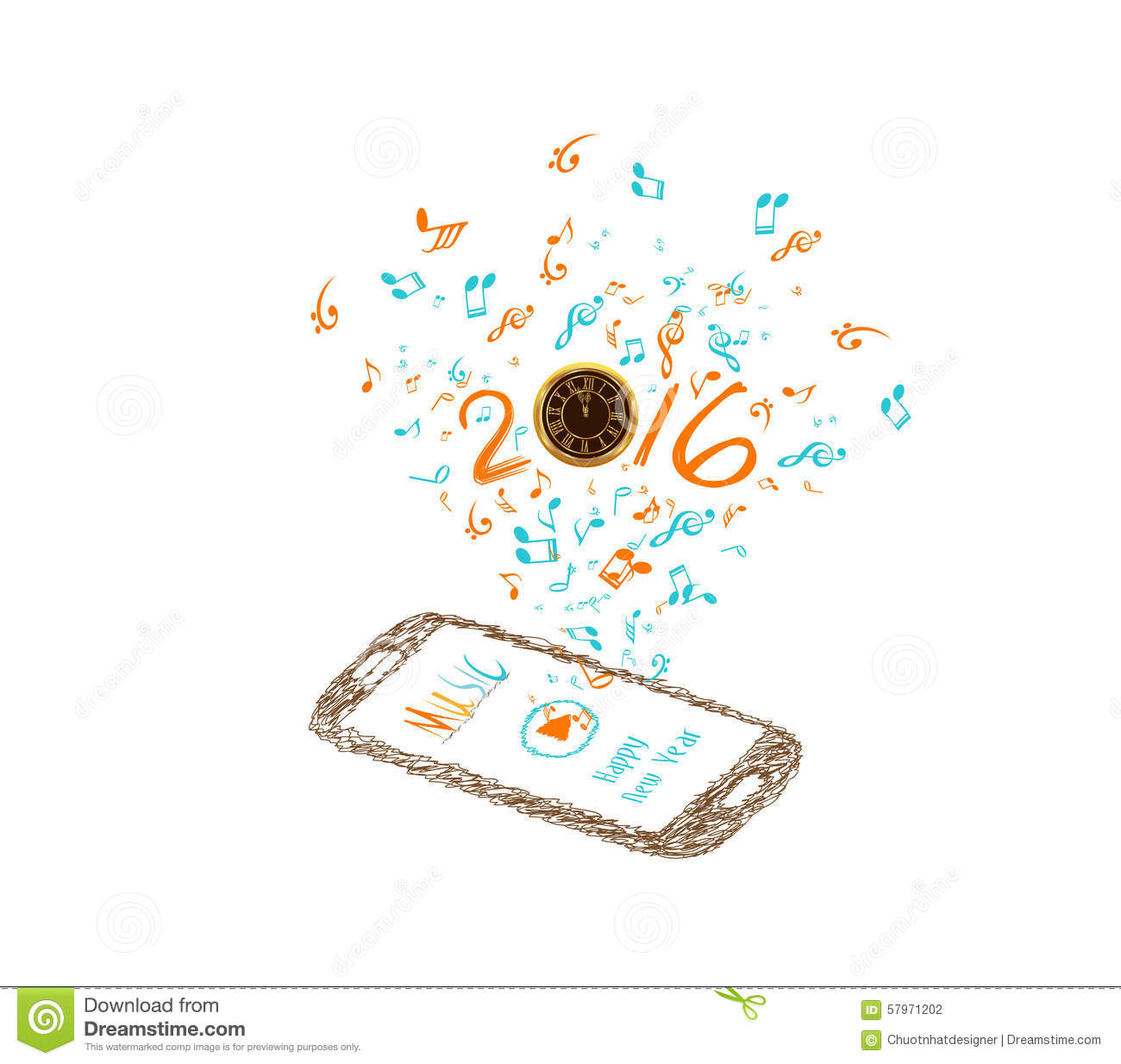Music For Happy New Year 2016 Background With Notes And Smartphone ...