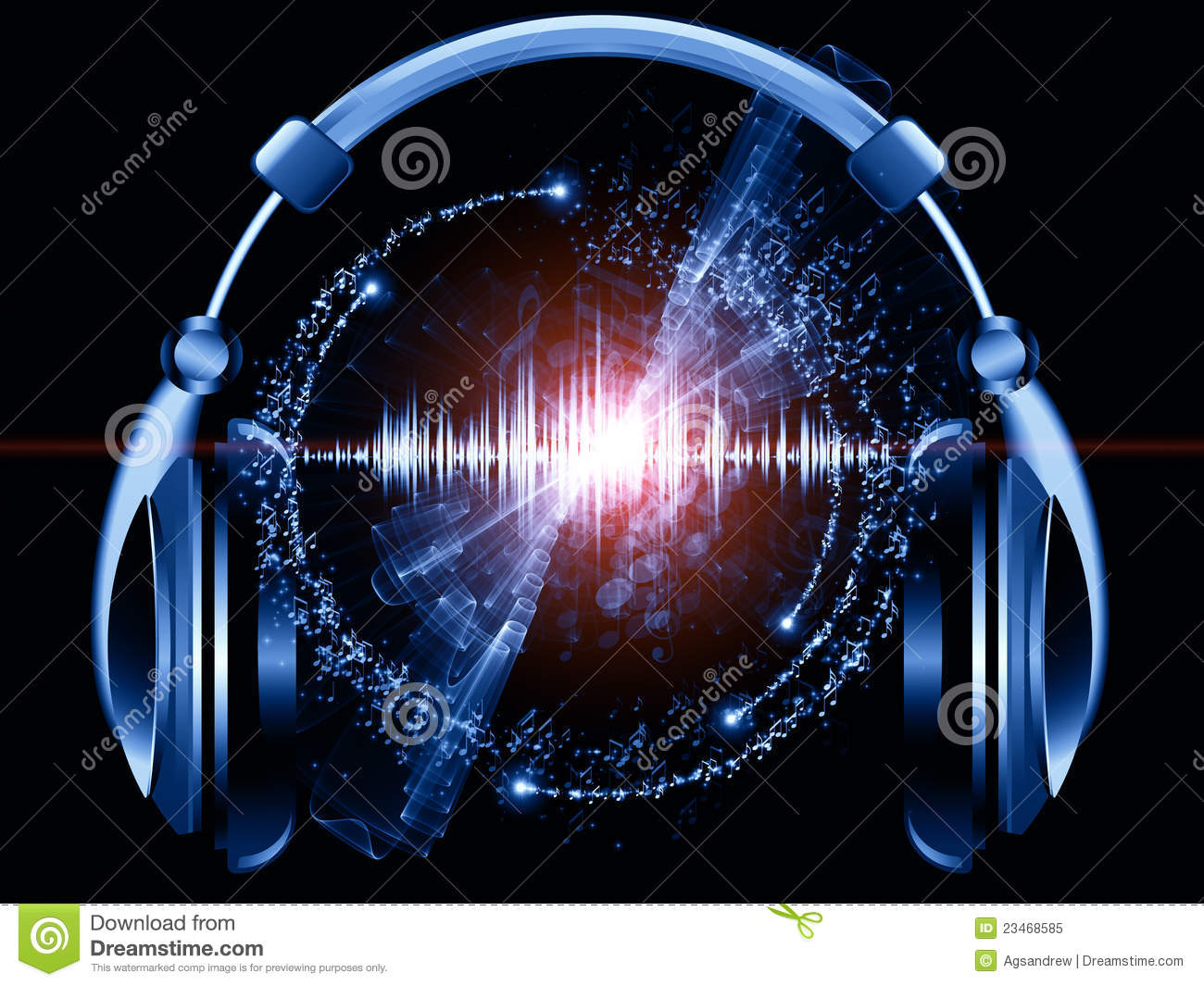 Headphones Music Notes: Music Of Headphones Royalty Free Stock Photo