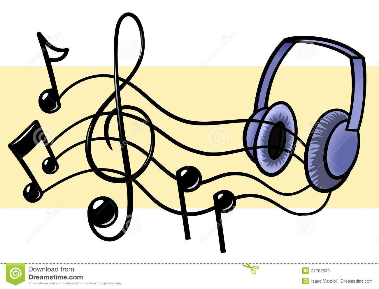 Headphones Music Notes: Music And Headphones Stock Photo