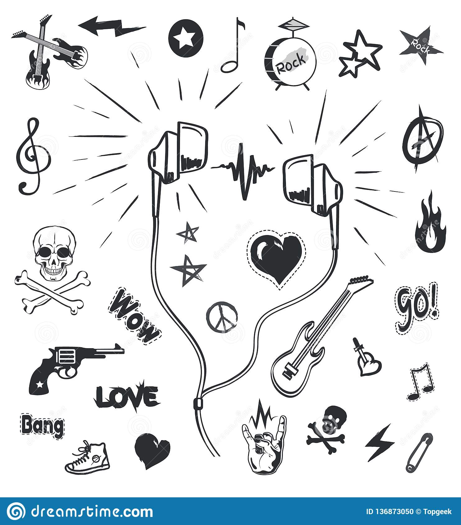 Music headphones musical monochrome sketches outline and symbols icons vector earphones and electric guitar drums and notes skull and rock sign