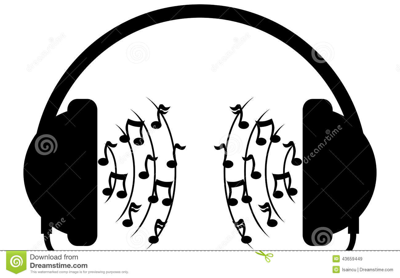 Headphones Music Notes: Music Headphones Sketch Stock Image