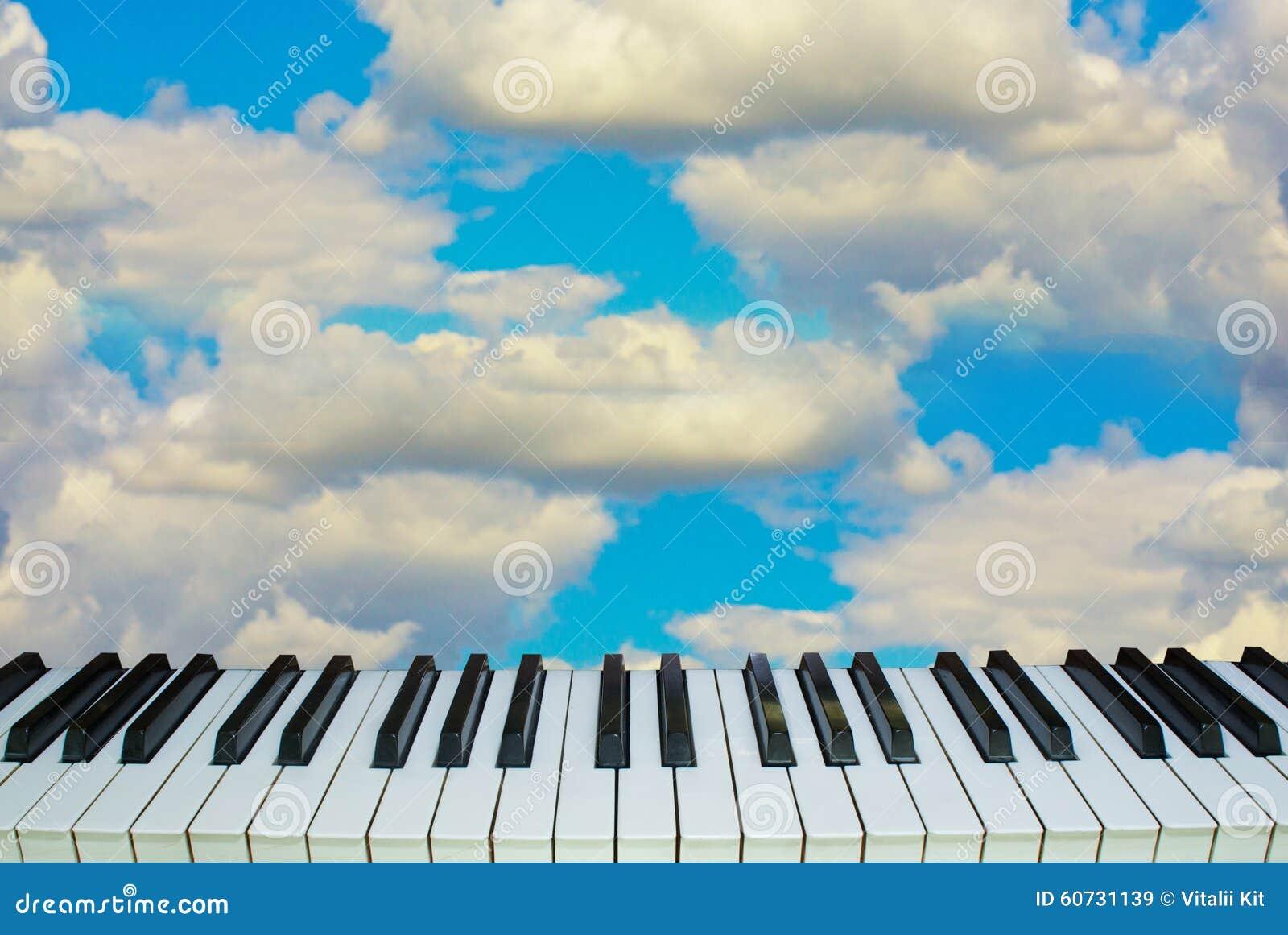 music heaven piano keys against the sky stock image image 60731139. Black Bedroom Furniture Sets. Home Design Ideas