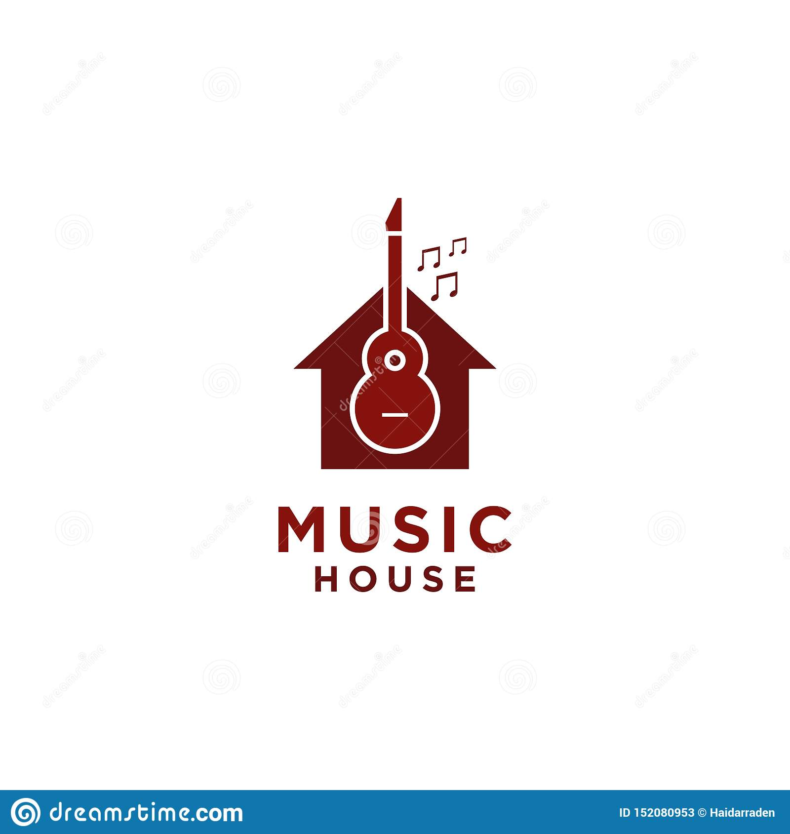 Music House Logo design with guitar symbol and tone