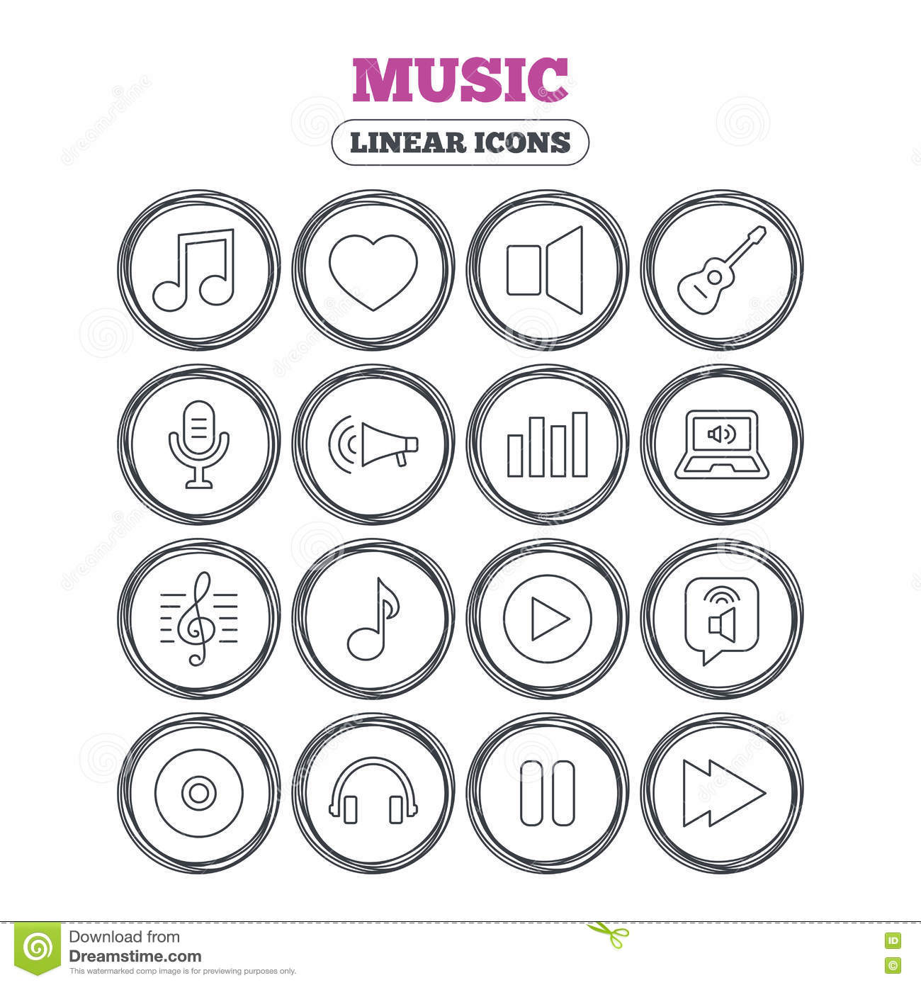 Music Icon Musical Note Guitar And Microphone Stock Vector