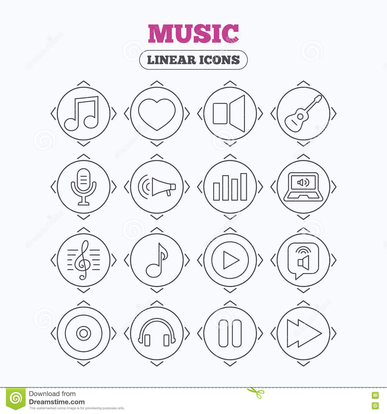 music icons  microphone  acoustic guitar  cartoon vector