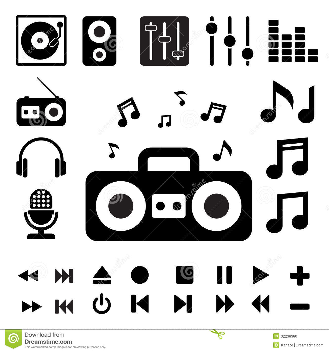 Music Icon Set. Stock Photo - Image: 32238380 Graphic Equalizer Vector