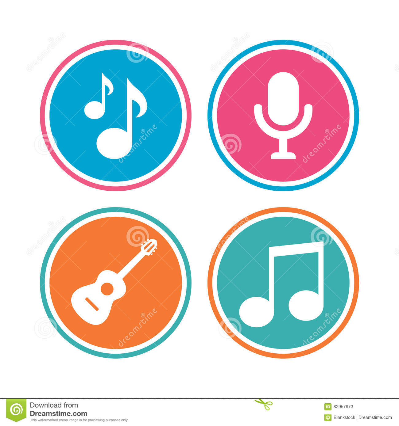 Music Icons  Microphone, Acoustic Guitar  Stock Vector