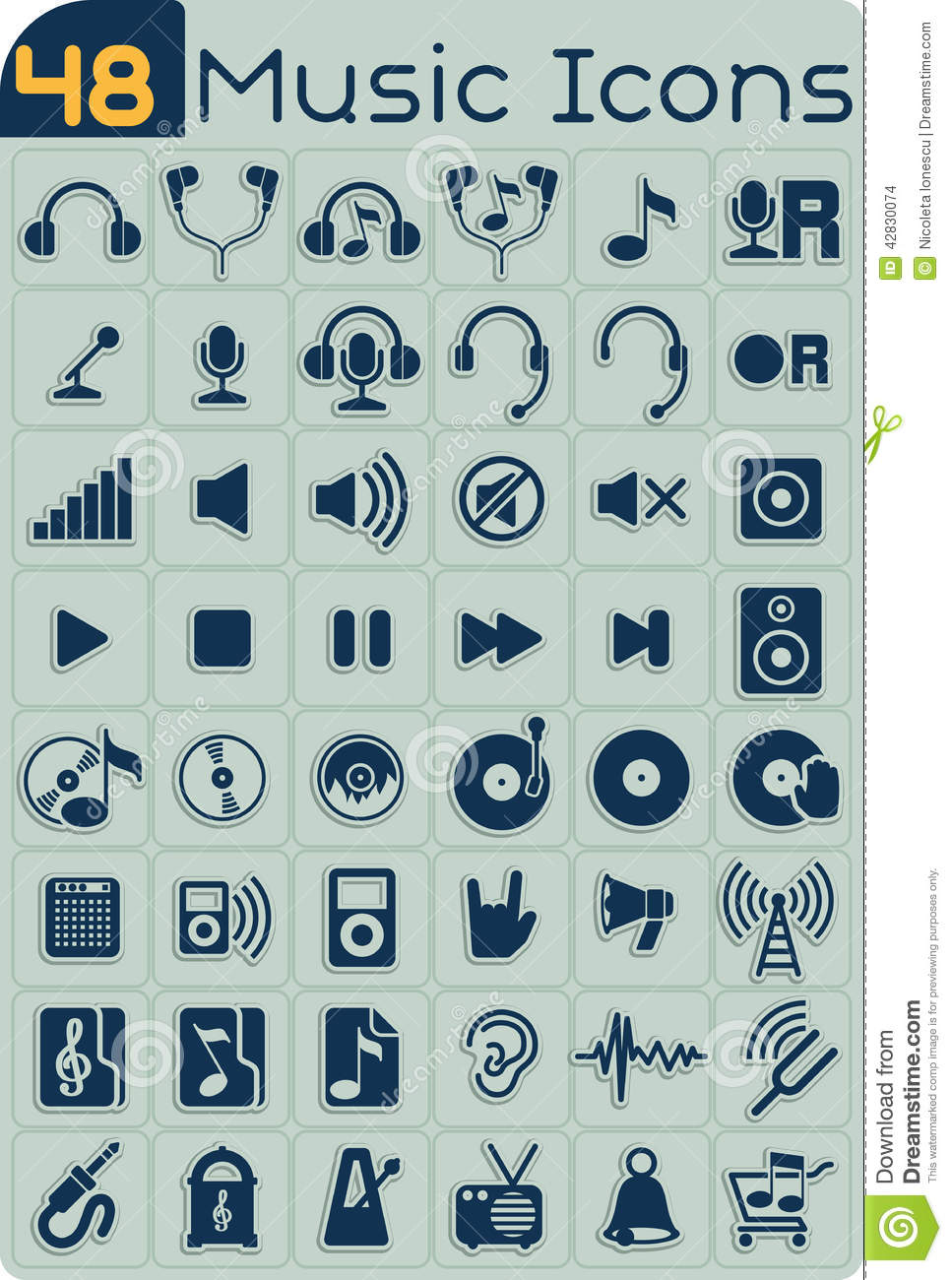 48 Music Icons Vector Set