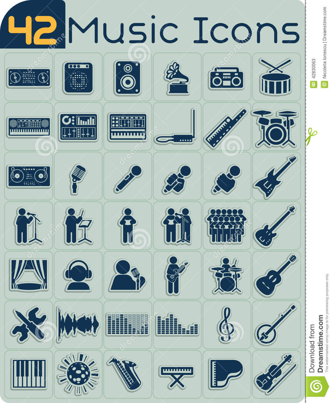 Music Icons. Microphone, Acoustic Guitar. Cartoon Vector ...