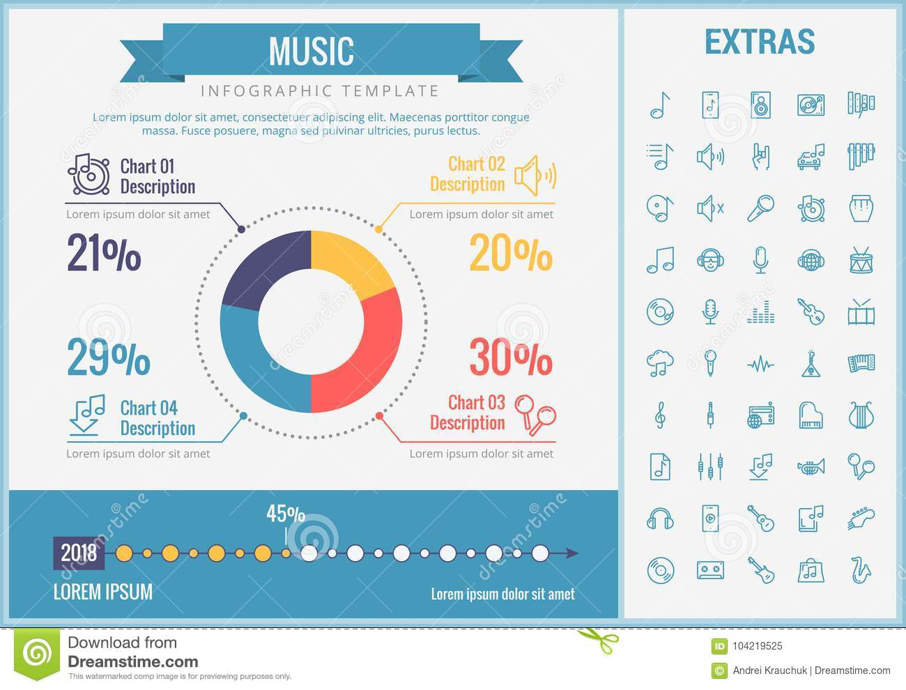 Music Infographic Template Elements And Icons Stock Vector