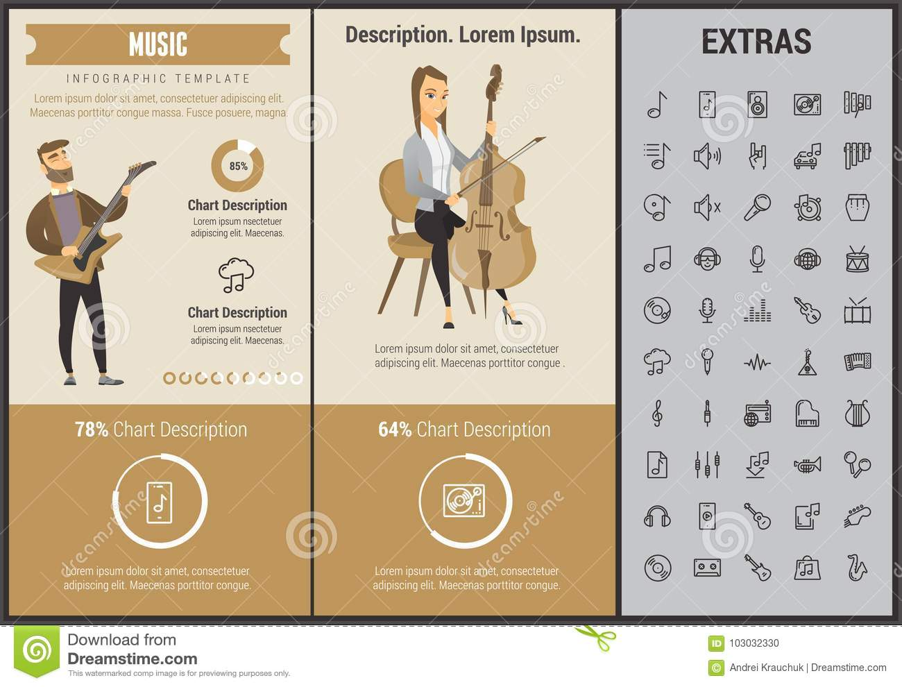 Music Infographic Template, Elements And Icons  Stock Vector