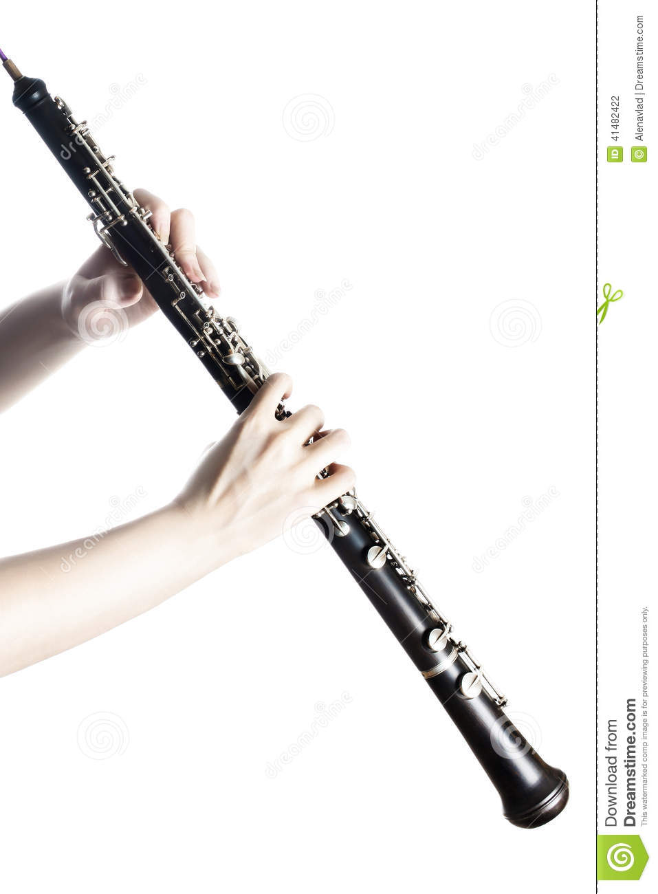 Music Instrument Oboe With Hands Close Up Stock Photo