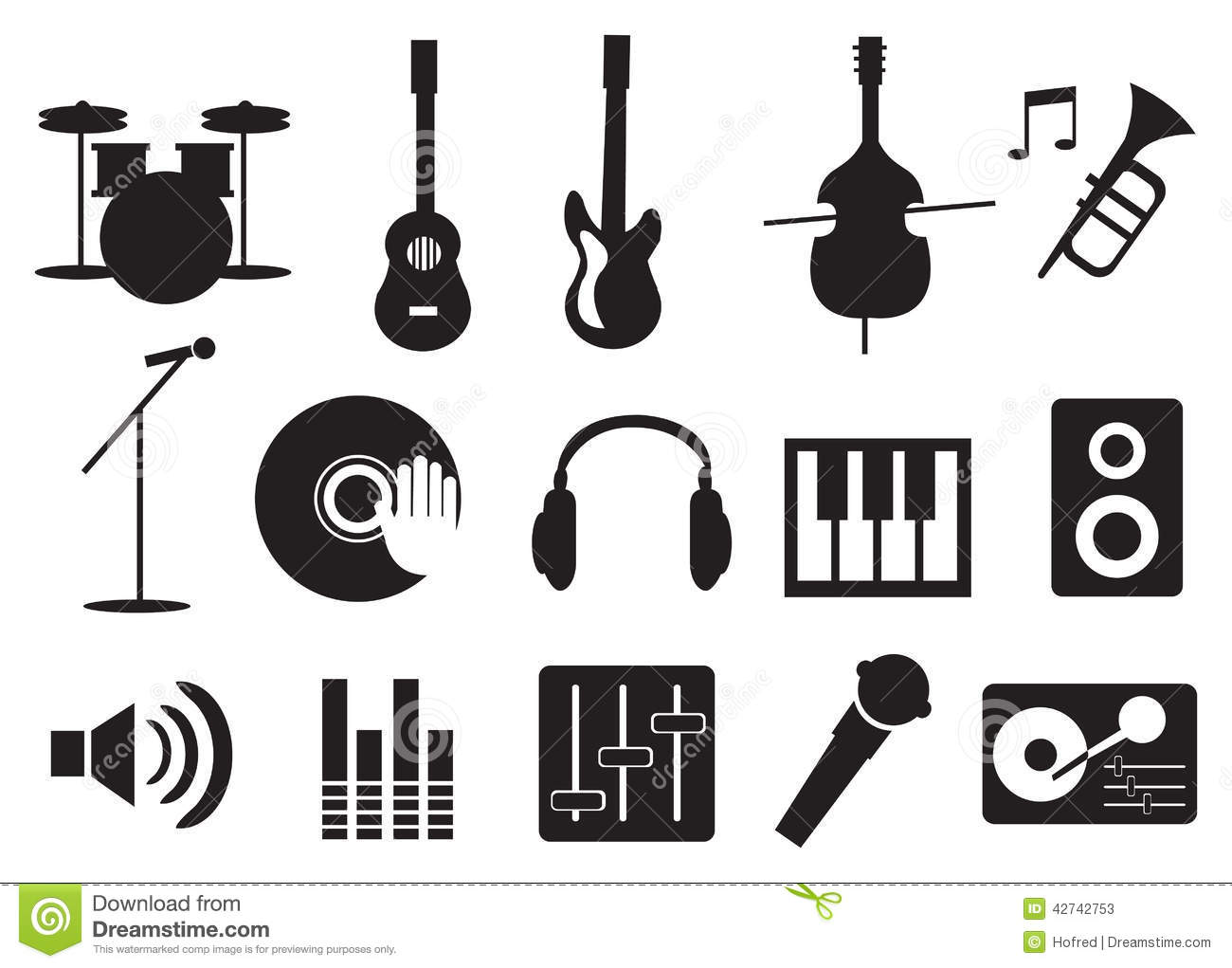 Music Instrument And Tools Icons Stock Vector Image