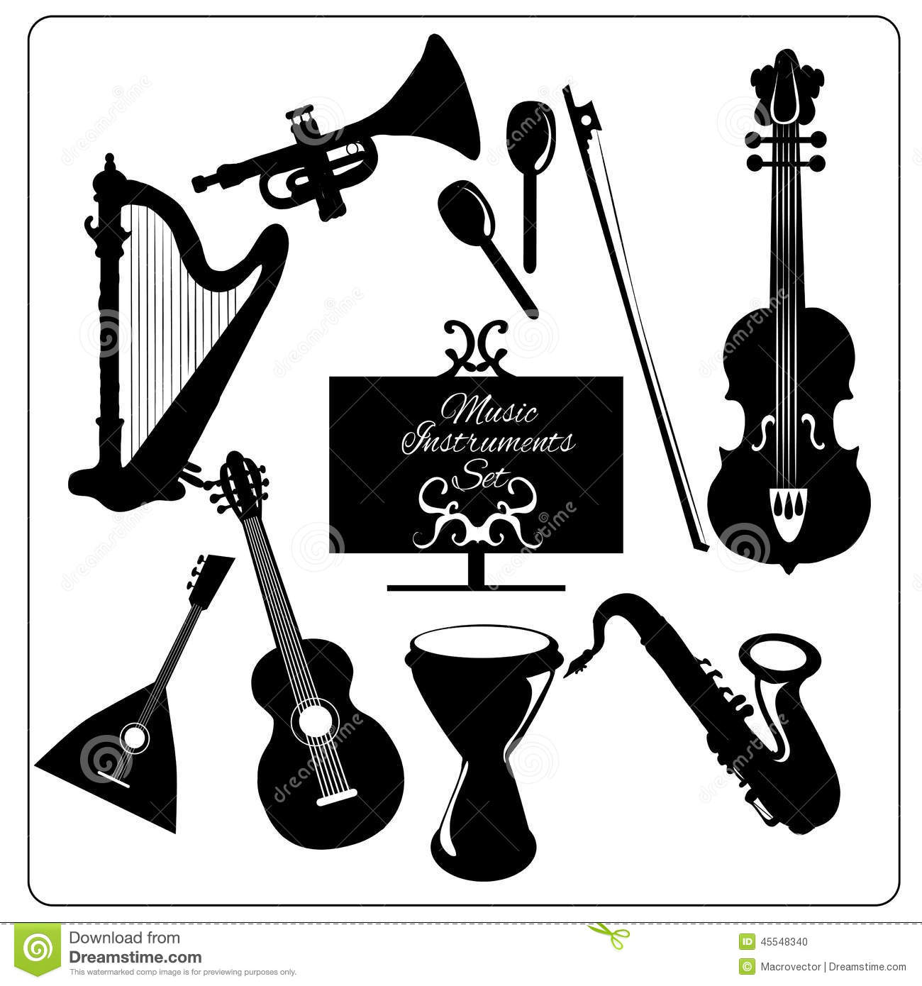 ... violin trumpet harp sketch vector abstract isolated illustration