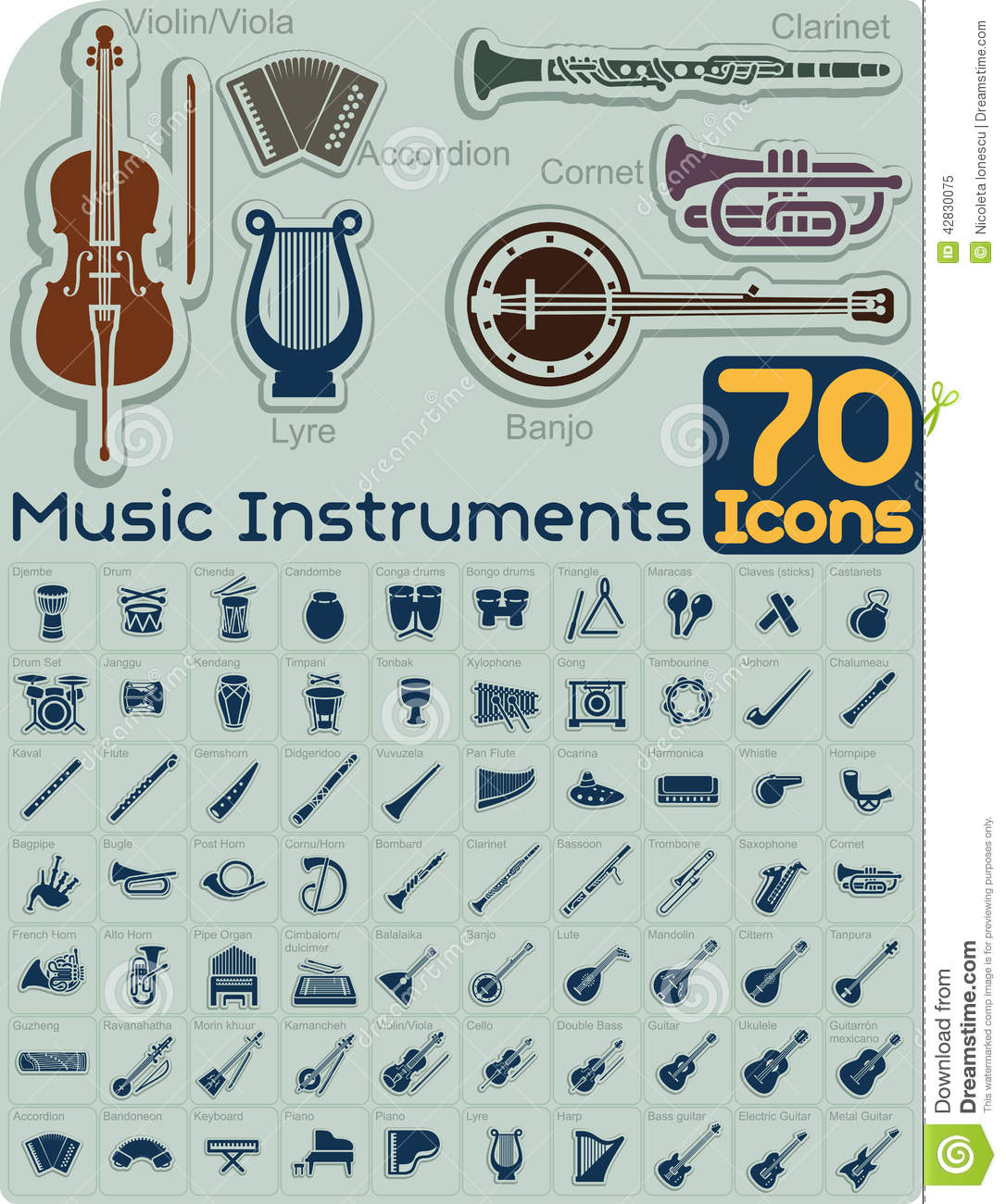 70 Music Instruments Icons Vector Set