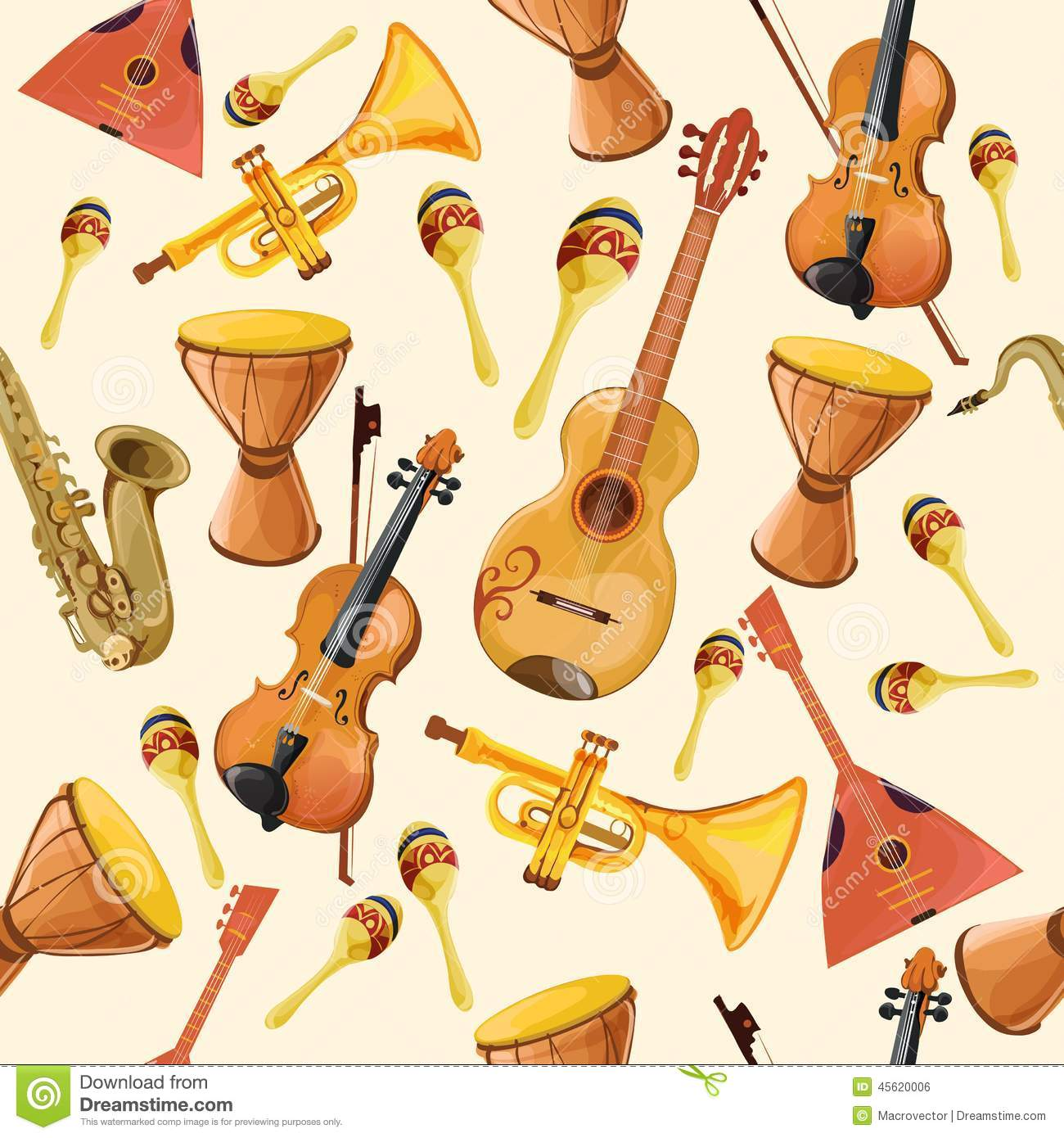 music instruments seamless pattern stock vector image 45620006. Black Bedroom Furniture Sets. Home Design Ideas