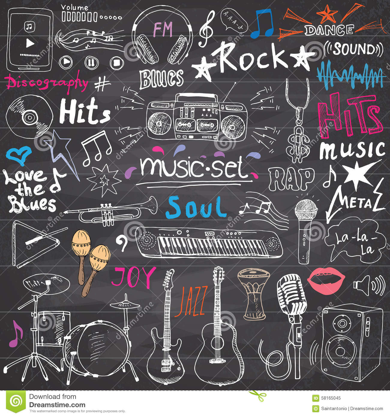 Drawing human ear royalty free stock photography image 25570937 - Music Items Doodle Icons Set Hand Drawn Sketch With Notes Instruments Microphone