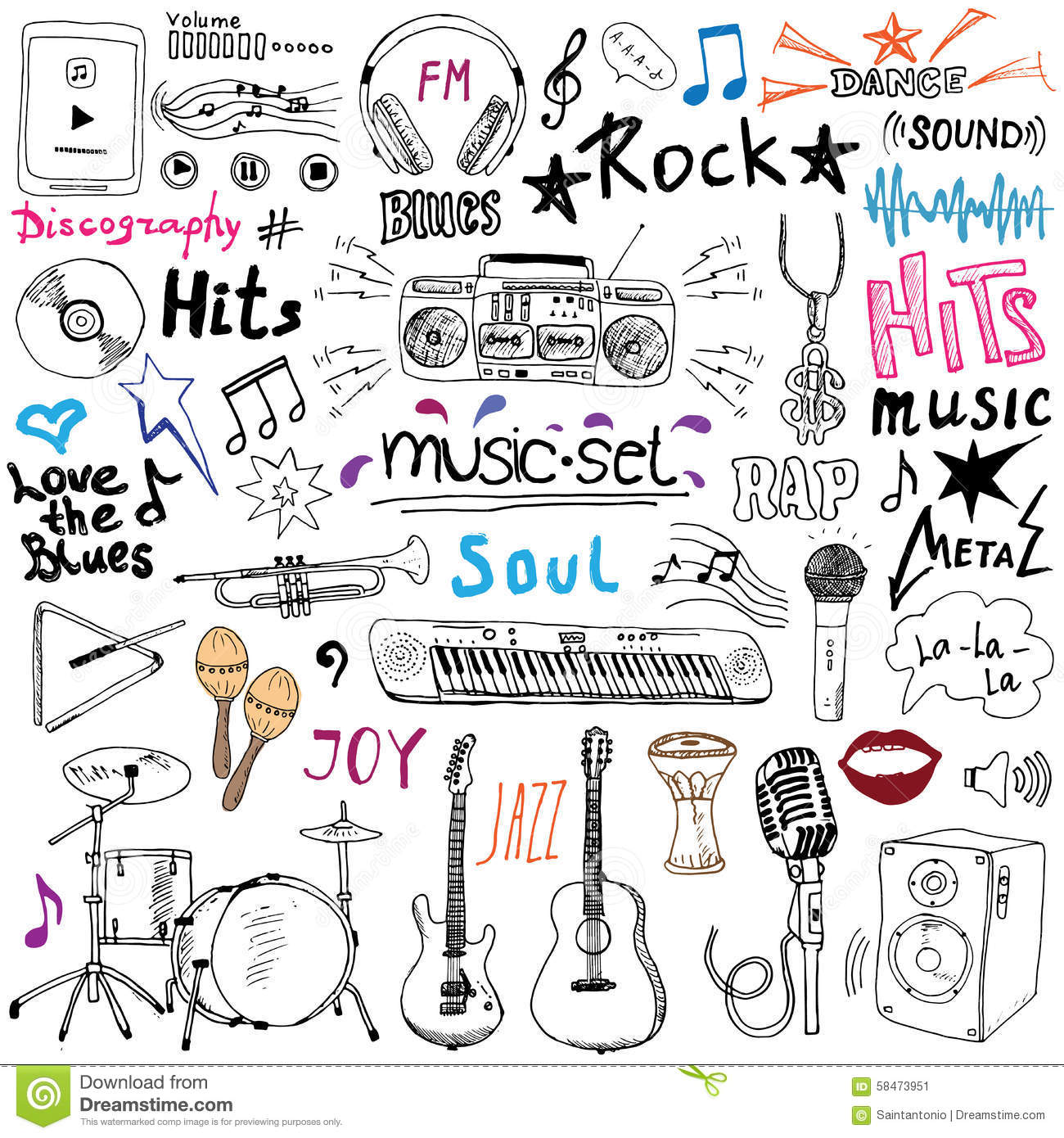 Music items doodle icons set. Hand drawn sketch with notes, instruments, microphone, guitar, headphone, drums, music player and mu
